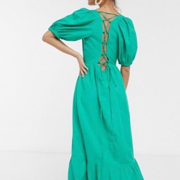 ASOS Design Teal Tiered Puff Sleeve Maxi Dress